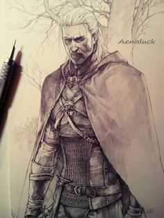 Geralt from The Witcher 3 by aenaluck fighter ranger guard soldier knight thief rogue assassin chainmail armor clothes clothing fashion player character npc   Create your own roleplaying game material w/ RPG Bard: www.rpgbard.com   Writing inspiration for