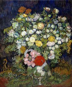 Bouquet of Flowers in a Vase Artist: Vincent van Gogh (Dutch, Zundert Auvers-sur-Oise) Date: 1890 Medium: Oil on canvas Dimensions: 25 x 21 in. Vincent Van Gogh, Artist Van Gogh, Van Gogh Art, Art Van, Flores Van Gogh, Flower Vases, Flower Art, Floral Flowers, Bouquet Flowers