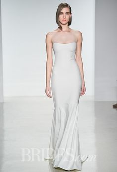 Brides.com: Amsale - Spring 2015. Sleeveless crepe slim mermaid wedding dress with an illusion high neckline, Amsale