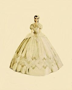 Walter Plunkett for GWTW. Melanie's dress she wore for Scarlett's wedding to Charles although the colour differed from here.