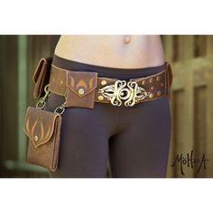 6 Pocket Convertible Leather Belt Bag ($385) via Polyvore featuring bags, leather belts, leather snap belt, brown leather belt, brown bag and leather utility belt