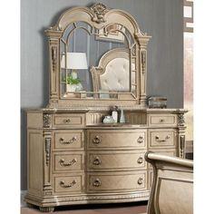 Monaco 11-Drawer Dresser and Mirror in Bright Bisque   Nebraska Furniture Mart