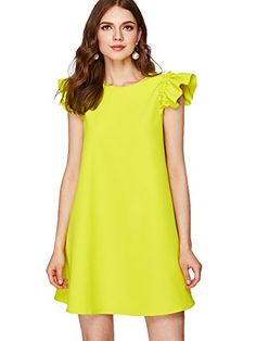 Women's Ruffle Trim Sleeve Summer Beach A Line Loose Swing Dress - Yellow Medium Plus Size Maxi Dresses, Casual Dresses, Short Sleeve Dresses, Dresses With Sleeves, Teen Dresses, Club Dresses, Very Short Dress, Cap Dress, Dress Red