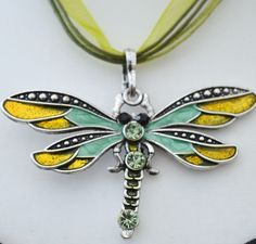 Dragonfly pendant necklace, purple, green, brown. Womens jewellery. UK £12.00