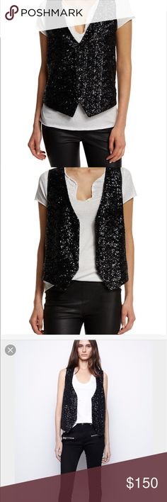 Zadig and Voltaire sequin vest NWT Zadig and Voltaire black sequins vest NWT size S Zadig & Voltaire Other