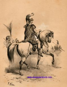 Alexander on Bucephalus drawn by Victor Adam and printed in two-tone by Lemercier in Paris in 1859