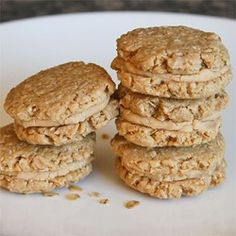 """Oatmeal Peanut Butter Cookies III I """"This is my go-to cookie for showing off. I dip mine in chocolate also when they're done. Who doesn't love the peanut butter-chocolate combo? Soft Oatmeal Cookies, Oatmeal Cookie Recipes, Cookie Desserts, Dessert Recipes, Party Recipes, Fall Cookies, No Bake Cookies, Chip Cookies, Pb2 Cookies"""