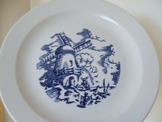 Vintage Dutch Scene Large Chop Plate in royal blue and white marked ROYAL China by lookonmytreasures on Etsy