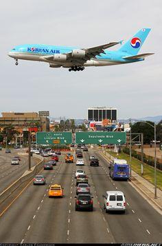 Korean Air A380 in short final RW24R crossing Sepulveda Boulevard. Los Angeles International Airport (LAX)