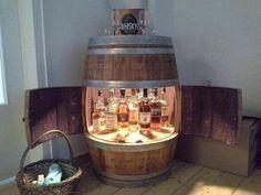 Wine barrel bar with double doors- Weinfass Bar mit Flügeltüren Wine barrel bar with double doors - Handmade Furniture, Rustic Furniture, Diy Furniture, Building Furniture, Tonneau Bar, Wine Barrel Bar, Whisky Bar, Mini Bars, Barrel Furniture