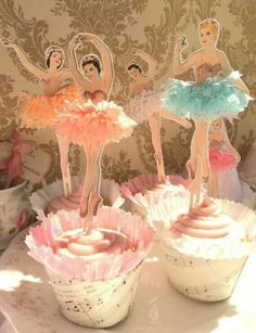 Twelve Vintage Style Ballerina Cupcake Toppers-- thinking this would be great for after the ballet recital Dance of the sugar plum fairies Ballerina Birthday Parties, Ballerina Party, Girl Birthday, Ballerina Cupcakes, Vintage Ballerina, Ballerina Doll, Cupcake Toppers, Cupcake Cakes, Cupcake Picks