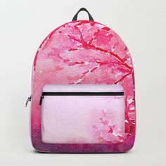 """Winter solitude-- In a world of one color The sound of wind."" Matsuo Basho  #trees #artwork #backpacks #pink #mindfulness #winter #solitude #basho #poetry #zen"