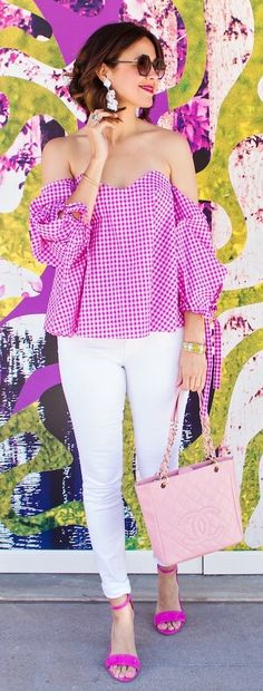 #spring #outfits Pink Checked Off Shoulder Blouse & White Skinny Jeans & Pink Sandals
