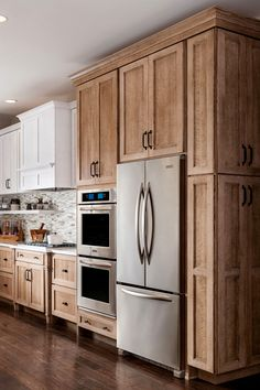 Dark, light, oak, maple, cherry cabinetry and wood kitchen cabinets cleaning tips. CHECK THE PIC for Various Wood Kitchen Cabinets. Custom Kitchen Cabinets, Kitchen Cabinet Design, Kitchen Redo, White Cabinets, Rustic Wood Cabinets, Natural Wood Kitchen Cabinets, Stained Kitchen Cabinets, Rooster Kitchen, Kitchen Floor