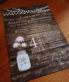 Rustic Country Wood Background Wedding Invitation with Light Strings and Mason Jar with Flowers  on Etsy, $1.70