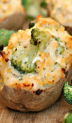 Broccoli and Cheddar-Stuffed Baked Potatoes, add ham and make it a meal!