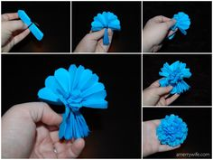 DIY tissue paper flowers step-by-step