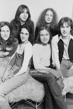British-American rock group Foreigner, New York, USA, 7th February 1977. Clockwise from far right: drummer Dennis Elliott, keyboard player Al Greenwood, singer Lou Gramm, rhythm guitarist Ian McDonald, lead guitarist Mick Jones and bassist Ed Gagliardi (1952 - 2014).