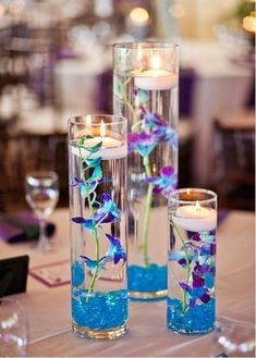 diy blue and purple lily floating candle vase 2014 Christmas  centerpieces - votive candle light wedding table decor