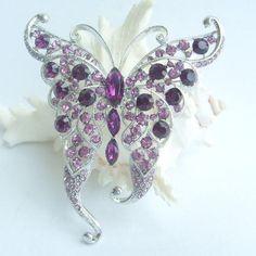 "3.54"" Silver Tone Stunning Rhinestone Butterfly Brooch Pin, Pretty Butterfly Brooch Pin w Purple Rhinestone Crystal - BP03683C4"