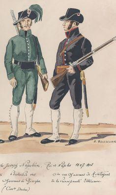 l'Armée de Joseph Napoléon Roi de Naples 1807-1808 Bataillon des chasseurs de Giarpa Compagnies des chasseurs de Montagnes de la principauté Ultérieure