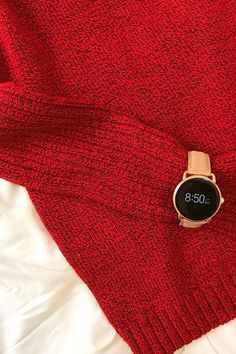 A holiday red sweater plus the Q Wander rose gold smartwatch makes the perfect match. via @ chastity_diane