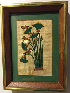 Vintage Original Egyptian-themed Small Signed Painting Birds & Papyrus on Parchment-like Paper Vintage Mid-Century Frame by MissHavishamsShop on Etsy