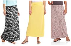 HOT Deal Alert! Walmart.com is offering Faded Glory Women's Fashion Maxi Skirts for just $5 right now, plus free shipping. There are 20 colors and patterns to choose from.