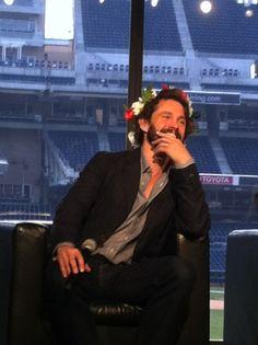 Hugh Dancy wearing a flower crown I love him!!!!