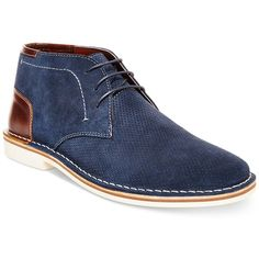 Steve Madden Men's Hendric Suede Chukka Boots ($68) ❤ liked on Polyvore featuring men's fashion, men's shoes, men's boots, navy suede, mens navy suede shoes, mens chukka shoes, steve madden mens shoes, mens suede shoes and mens navy shoes