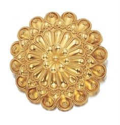 Gold Flower Brooch, Lalaounis for Sale at Auction on Wed, - - Important Estate Jewelry Gold Jewellery, Jewelry Rings, Jewelery, Gold Mangalsutra, Gold Ring Designs, Gold Texture, Gold Flowers, Emeralds, Antique Rings