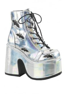 Women's Demonia Camel 201 Platform Ankle Bootie - Silver Hologram/Black Vegan Leather with FREE Lace Ankle Boots, Ankle Booties, Bootie Boots, Shoe Boots, Womens Gothic Boots, Ugg Boots, Combat Boots, Platform Block Heels, Platform Boots