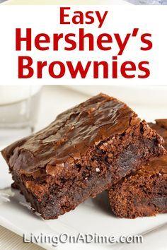 Chewy Brownies, Hershey Brownies, Kakao Brownies, Chocolate Hershey, Beste Brownies, Cocoa Brownies, Homemade Brownies, Fudge, Easy Brownies