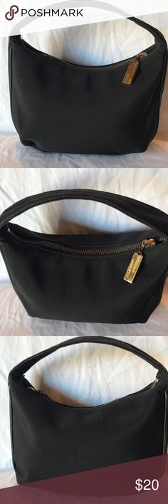 Ralph Lauren Hobo Smaller Bag Purse Cute black under the arm mini bag. It has a main zip pocket with a wall zip pocket.  It comes in a black jacquard material with black leather edges. It shows normal wear from use. It measures about 9 inches by length, 6.5 inches in height, 2 inches deep, and the strap drop is about 5 inches. Ralph Lauren Bags Mini Bags