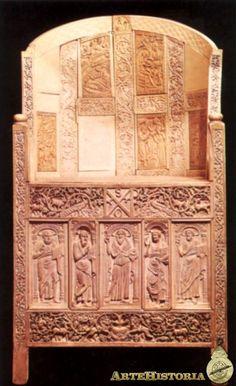 Cátedra del obispo Maximiano (aparece en los mosaicos de San Vital),siglo VI. Marfil. Escenas de la vida de Cristo, San José y San Juan Bautista