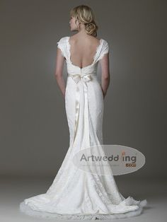 Love the back. Cap Sleeves Wedding Dress with bow Belt