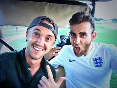 Malfoy. Neville. Golf.  Photos of a few Harry Potter actors hanging out, post-movie