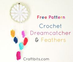 Get crafty and make this super cute , colourful crochet Dreamcatcher made out of Crochet. The feathers are a Crochet design.The Pattern is free and easy to follow.