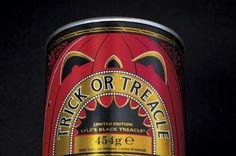 Limited-edition Halloween packaging for Lyle's Black Treacle, creating a tin that can turn into a pumpkin head.