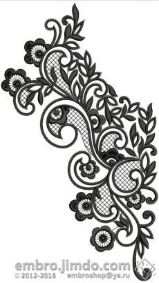 Ideas For Embroidery Cute Design Border Embroidery Designs, Cutwork Embroidery, Machine Embroidery Designs, Embroidery Patterns, Lace Tattoo Design, Lace Design, Motifs Perler, Foto Transfer, Lace Patterns