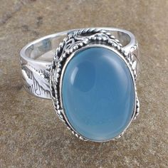EXCLUSIVE 925 STERLING SILVER 9.82g BLUE CHALSIDONY RING JEWLLERY R0948 #Handmade #RING