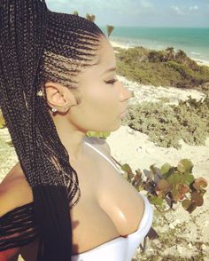 Nicki Minaj Cornrows into High Ponytail