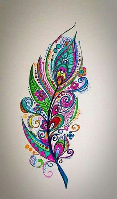 Colorful feather drawing, painting idea with swirls and flowers.