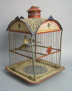 Polychromed painted tin bird cage, late 19th c., (01/05/2007)
