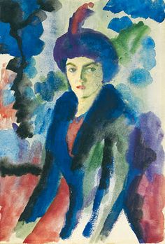 August Macke ~ Lezen in de kunst: Elisabeth August Macke, Harlem Renaissance, Life Drawing, Painting & Drawing, Anime Comics, Cavalier Bleu, Blue Rider, Painted Hats, Expressionist Artists