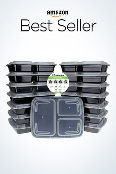 Freshware 3 Compartment Bento Lunch Boxes with Lids - Stackable, Reusable, Microwave, Dishwasher Meal Prep Containers, Food Storage Containers, 21 Day Fix, Make Ahead Meals, Freezer Meals, Tupperware, Supermarket, Comida Keto, Clean Eating