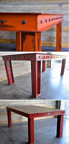 111 Cool Industrial Furniture Design Ideas I want replicate this table as an extendable workbench. Love the colour too.