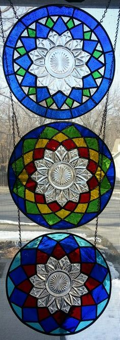 3 stained glass Federal depression era plate panels #StainedGlassMandala