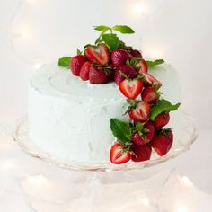 A super moist, layered sponge cake soaked in three milks, filled with macerated strawberries and frosted with whipped cream.