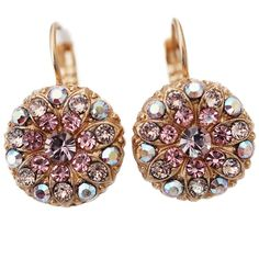 Mariana Rose Gold Plated Flower Blossom Swarovski Crystal Earrings, Pink Petal. Available at www.regencies.com